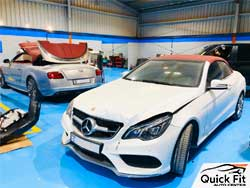 Mercedes Roof Repair going on at Quick Fit Auto Center
